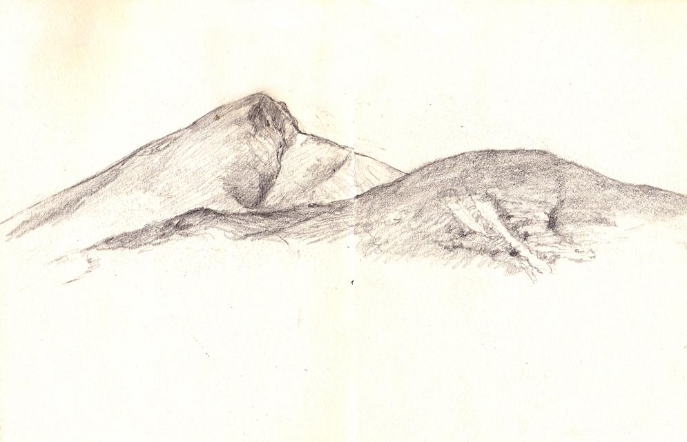磐梯山のスケッチ
